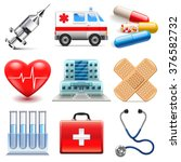 medical icons detailed photo... | Shutterstock .eps vector #376582732