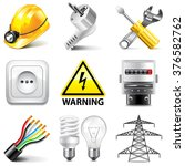 electricity icons detailed... | Shutterstock .eps vector #376582762