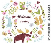 'welcome spring' card with cute ... | Shutterstock .eps vector #376586656
