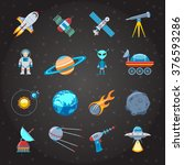 space and astronautics colorful ... | Shutterstock .eps vector #376593286