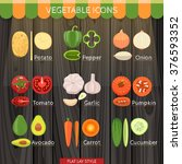 colorful vegetables icon set in ... | Shutterstock .eps vector #376593352