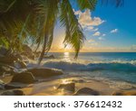 bright sunset on sandy tropical ... | Shutterstock . vector #376612432