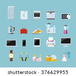 set of household appliances... | Shutterstock .eps vector #376629955