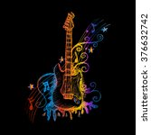 hand drawn guitar. vector... | Shutterstock .eps vector #376632742