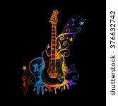 hand drawn guitar. vector... | Shutterstock .eps vector #376632742