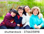 group of happy women with... | Shutterstock . vector #376635898