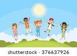 children happy smile. group... | Shutterstock .eps vector #376637926