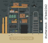 storeroom interior with metal... | Shutterstock .eps vector #376662262