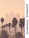 los angeles skyline with palm... | Shutterstock . vector #376666255