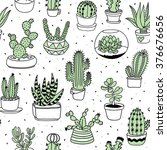 hand drawn succulents and... | Shutterstock .eps vector #376676656