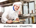 smiling chef garnishing a dish | Shutterstock . vector #376687792