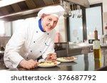 smiling chef garnishing a dish | Shutterstock . vector #376687792