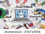 social network online sharing... | Shutterstock . vector #376715056
