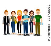 set of diverse college or... | Shutterstock .eps vector #376720012