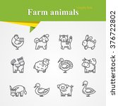 simple thin line farm animals... | Shutterstock .eps vector #376722802