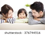 happy attractive young  family... | Shutterstock . vector #376744516