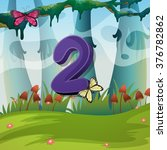 number two with 2 butterflies... | Shutterstock .eps vector #376782862