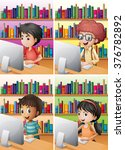 boys and girl working on... | Shutterstock .eps vector #376782892