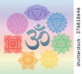 set of seven chakras and symbol ...   Shutterstock .eps vector #376818646