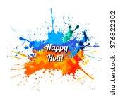 happy holi  rainbow splash paint | Shutterstock .eps vector #376822102