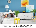 Living Room Interior With Whit...