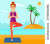 woman practicing yoga. | Shutterstock .eps vector #376856086