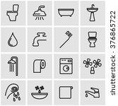 vector line bathroom icon set | Shutterstock .eps vector #376865722