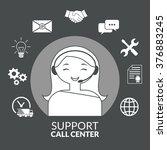 technical support woman...   Shutterstock .eps vector #376883245