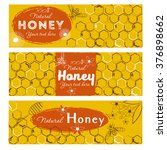 set of honey banners with hand... | Shutterstock .eps vector #376898662