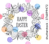 easter wreath with easter eggs... | Shutterstock .eps vector #376899472
