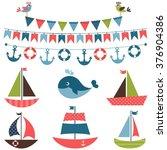 textured sea transport set | Shutterstock .eps vector #376904386
