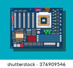 motherboard in vector on blue...