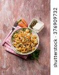 pasta with carrot capers and... | Shutterstock . vector #376909732