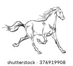galloping horses. hand drawn... | Shutterstock .eps vector #376919908