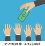 hand holding money bill  while... | Shutterstock .eps vector #376932085