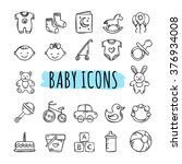 sketched baby icons vector set. ... | Shutterstock .eps vector #376934008