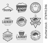 vector set of laundry logos ... | Shutterstock .eps vector #376941346