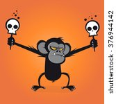 angry chimp is holding skulls... | Shutterstock .eps vector #376944142