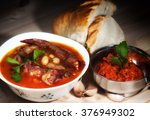 bean soup with smoked pork ribs | Shutterstock . vector #376949302