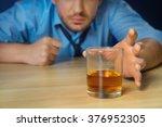 drunk man drinking alcohol at... | Shutterstock . vector #376952305