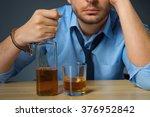 drunk man drinking alcohol at... | Shutterstock . vector #376952842