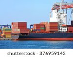 container stack and ship under... | Shutterstock . vector #376959142