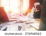 close up business woman signing ... | Shutterstock . vector #376968562