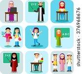 arabic pupil and teacher in... | Shutterstock .eps vector #376968676