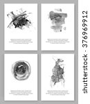 vector. set of freehand cards.... | Shutterstock .eps vector #376969912