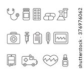 medical line icons black and... | Shutterstock .eps vector #376976062