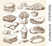 Set with fast food illustration. Sketch vector illustration. Fast food restaurant, fast food menu. Hamburger, hot dog, sandwich, snacks, waffles, pizza, french fries, ice cream, donuts, burger, sauce | Shutterstock vector #376991836