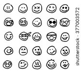 funny faces set smiles hand... | Shutterstock .eps vector #377003572