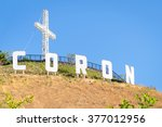coron sign with huge white... | Shutterstock . vector #377012956