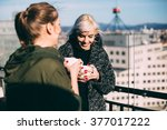 candid photo of hip young women ... | Shutterstock . vector #377017222